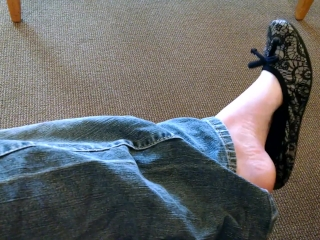Black Flats Shoeplay and Shoe Dangling in Public - Barefoot in Public