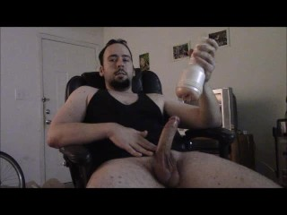 Over Eight Inch Cock Has Multiple Cumshots with Fleshlight That s Too Tight