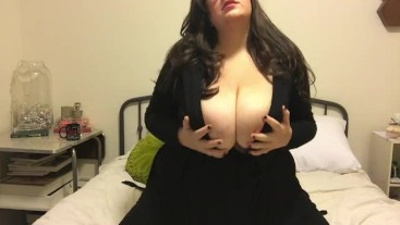 Huge Tit BBW Strips Shows off her Hairy Pussy and Makes You Cum