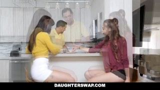 DaughterSwap - Teen Besties Fuck Eachothers Dads Blowjob sex