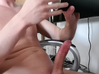 First Time selfshot watching Porn and cum into Toy