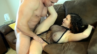 In fishnet big bodysuit hunk tits fucks chick sucking cock