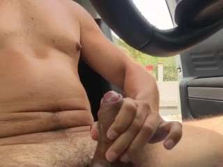 Busy road wank and cum