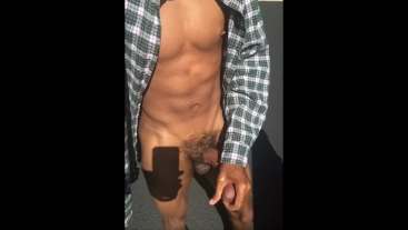 Teen strokes big black dick, cums, and fingers outside