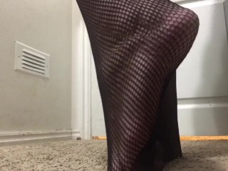 Fishnet up close footplay video