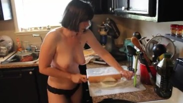 Amateur all Natural MILF Topless Cooking in Thongs