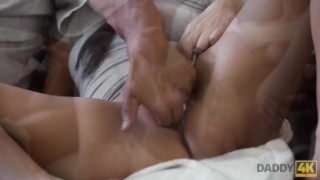 DADDY4K. Middle-aged man has fun with son's unsatisfied girlfriend Amateur camera