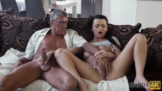DADDY4K. Middle-aged man has fun with son's unsatisfied girlfriend Small blackzilla