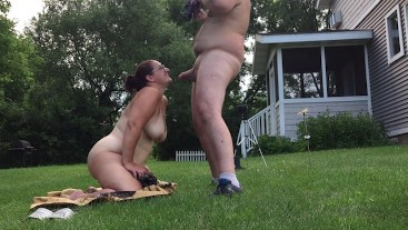 Missy Sucks Cock Outdoors Gets Face Blasted With Huge Cumshot