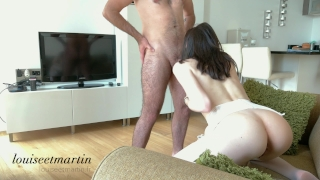 Intense fuck in hot lingerie till orgasm with his curved dick - 4k Public ginger