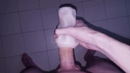 HORNY 20yo BOY STROKES HIS COCK WITH A FLESHLIGHT UNTIL CREAMPIE