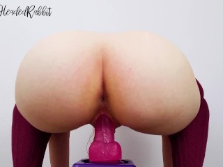 Beautiful redhead sits on dildo