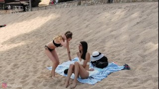 Preview 1 of Love and the sea with Beautiful Shemale Vicats and girl