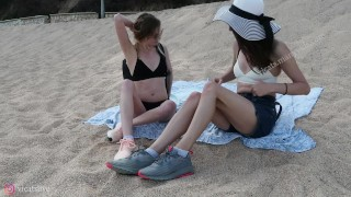 Preview 2 of Love and the sea with Beautiful Shemale Vicats and girl