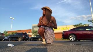 Peeing at crowded Best Buy parking lot. Masturbation fleshlight