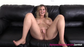 First Time Anal For Big Tits Blonde MILF on Casting Couch Room riding