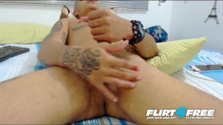 Jean Brush on Flirt4Free - Sexy Latino Twink Plays with Ass and Huge Cock