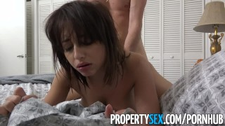 PropertySex - BNB guest with big natural tits fucks host's big cock Hot friends