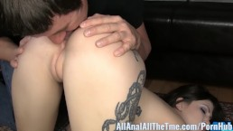 Tattoo'd babe Indigo Augustine gets ass worshiped and eaten at AllAnal!