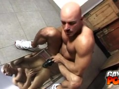 Bald Bear Dildo Fucking With A Mirror