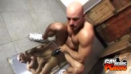 Bald Bear Dildo Fucking With A Mirror