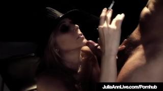 Award Winning MIlf Julia Ann Blows Cig & Cock Center Stage! porno