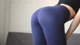 Fitness girl in yoga pants. Doggystyle