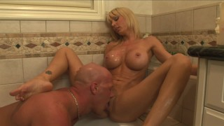SEX STARVED BLONDE HOUSEWIFE FUCKS MALE ESCORT IN BATHTUB HORNY MILF