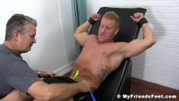 Restrained hunks naked feet and crotch tickle tortured