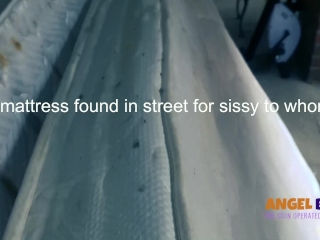 Mistress finds a dirty piss soaked mattress on the street for sissy