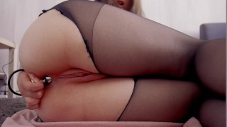 ANAL - Anal play with buttplug and black toy Boobs big