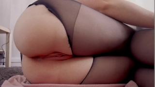 Anal buttplug play black anal and with toy anal ass