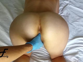 You are fucking my pussy with fingers, hands in blue gloves in wet pussy