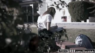 PURE TABOO School Nerd Kristen Blackmails Bullies into DP Fuck