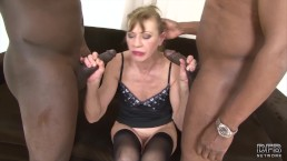 Granny anal fucked in hardcore interracial threesome she is so horny