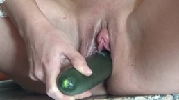 Brunette sexually fucks herself cucumber. A lot of orgasms.