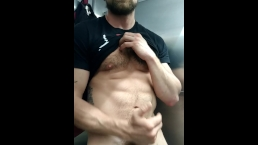 Jay Austin Jerks Off in Public AIrport Bathroom