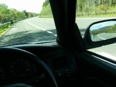 Public Roadside Wank & Cum In Car