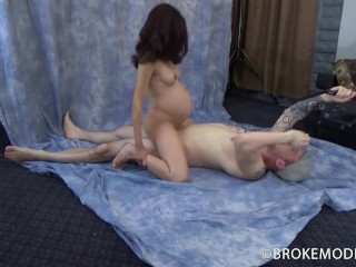 9 months pregnant does not stop this slut from getting her cunt creampie'd