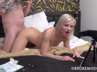 She has no way to understand whats about to happen to her tight euro pussy