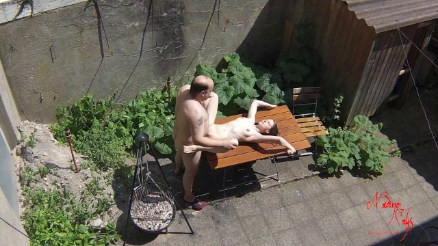 Pussy cay doll Voyeurs filming teen bitch fucking with old janitors on the terrace