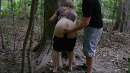 AMATEUR TEENS FUCK IN A FOREST! ALMOST CAUGHT AT THE END