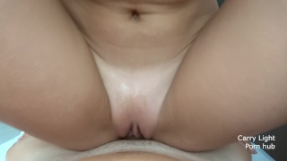 She is rubbing her wet pussy on my dick till cumshot Pegging dominatrix