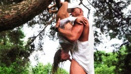Unexpected rain in a public park pushed us to extreme acrobatic assfuck