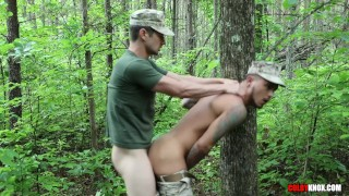 Hot Marines with Big Dicks Meet up and Fuck in the Woods