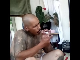Out the shower hitting the meth pipe pumping my cock
