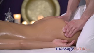 Massage Rooms Skinny with big tits dark skin angel fucked by masseur Rimming 3some