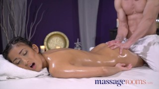 Massage Rooms Skinny with big tits dark skin angel fucked by masseur Homemade pov