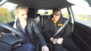 Fake Driving School Blonde busty Polish tight pussy fucked after lesson Brunette blonde