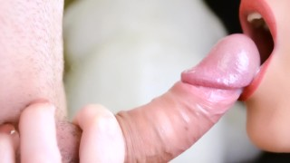 I give a close up blowjob and huge cum in my mouth - Hot milf cum play